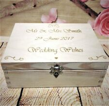 Wedding Guest Book Box Wooden Heart Tag Wishes Bride& Groom Personalised Gift