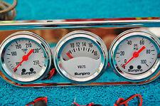 Triple Gauge set - White mechanical  - Water-Volt-Oil- Imports-Americans hotrod