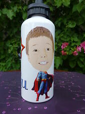 Personalised CARICATURE water drink bottle YOUR NAME & YOUR PHOTO SUPERMAN body.