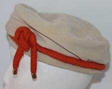 Vtg Ladies Hat Finley New York NY Beret Boina Tan Orange-Red Velvet Union Cap
