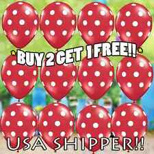 """❤ 12 Red White Polka Dot 12"""" Latex Birthday Party Balloons Minnie Mickey Mouse"""