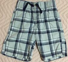GYMBOREE Plaid Blue Gray Shorts for Boys sz 4 Elastic Drawstring Waist