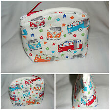 'Camper Vans & Caravans' Handmade Retro Style Fabric Make up Bag