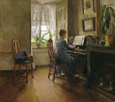 Charming Oil painting young player nice woman playing piano in room by window
