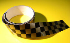 CAFE RACER CHEQUERED TAPE GOLD 1220x60mm 2 LENGTHS!