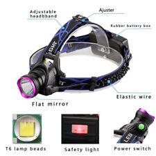 DC 12V 50000LM T6 LED Headlamp Headlight Torch Zoomable Lamp+ EU Charger Set