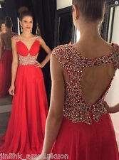 Red A Line Long Crystal Beaded Evening Dresses Open Back Party Formal Prom Gowns