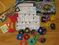 2003 BEYBLADE Metal/Plastic Spinners +Launchers & Rip Cords +Black Dranzer Box