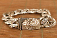 Collectible China Wonderful Miao Silver Carve lion Lucky Bracelet Noble bangle