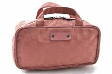 Authentic GUCCI Cosmetic Hand Pouch GG Nylon Leather Pink A8194