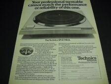 TECHNICS SP-10 MK II professional turntable Original 1977 PROMO POSTER AD mint