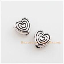18Pcs tono plata tibetana encantadora pequeño corazón espaciador granos encantos 6mm