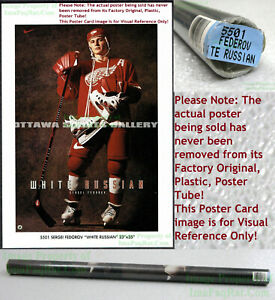 NITF! OLD STOCK Vintage ☆ Nike Poster ☆ WHITE RUSSIAN Sergei Fedorov ☆ Red Wings