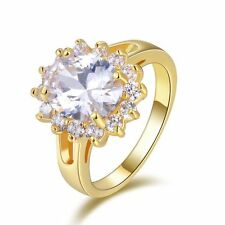 Women's 18K Gold Filled Fashion White Sapphire Wedding Engagement Rings Size 7