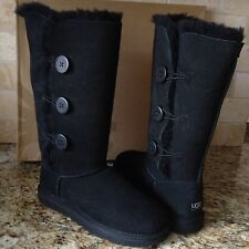 UGG BAILEY BUTTON TRIPLET TRIPLE BLACK TALL BOOTS US 6 WOMENS 1873