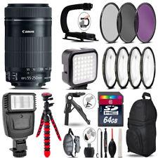 Canon 55-250mm IS STM -Video Kit + Slave Flash + Tripod - 64GB Accessory Bundle