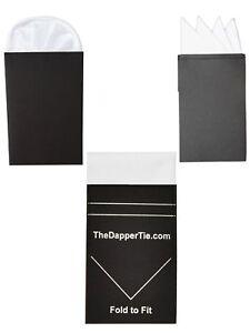 TheDapperTie - Men's White 3 Pcs Pre Folded Pocket square Set