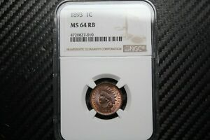 1893 Indian Cent NGC MS64 RB (27010)
