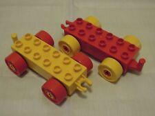 Lego Duplo Auto/Zug/Fahrzeug Unterteil Rot und Gelb x 2 2313/4883 #d14