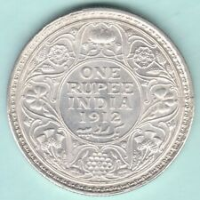 BRITISH INDIA 1912 KING GEORGE V ONE RUPEE SILVER COIN NEAR ABOUT UNC