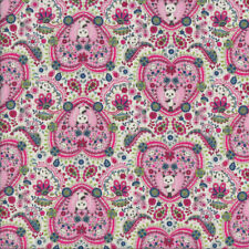 Pandas in Pink Love Hearts Paisley Flowers Quilting Fabric FQ or Metre *New*