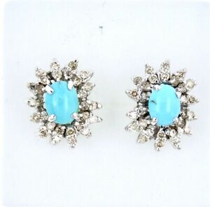 Turquoise & Diamonds Cluster Earrings 18k.White Gold Size: 15.00mm. x 12.00mm.