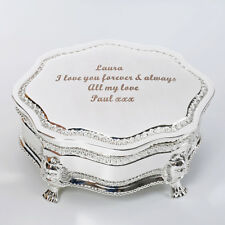 Personalised Engraved Silver Vintage Trinket Box Elegant Gift Jewellery Storage