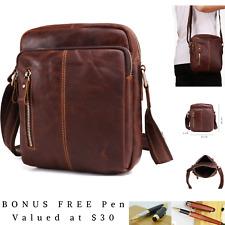 Genuine Leather Satchels Shoulder Messenger Bag Vintage Military Travel Satchel