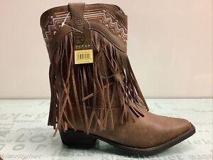 Roper Fringe Brown Leather Boots, Kids Girls Size 3. ✨