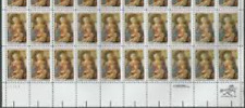# 2107 Us Postage Stamps Plate Block Madonna And Child 20 Stamps