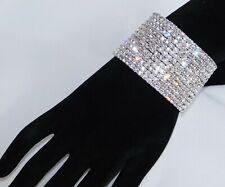 12 Row Silver rhinestone diamond crystals stretch Cuff Bridal Bracelet 2841