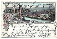 L 56 - Litho, König Karl Brücke zw. Cannstadt u. Stuttgart, 1895 gl.