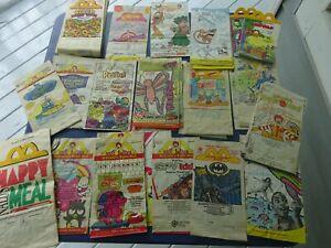 40 McDonalds Older Happy Meal Empty Bags, Garfield, Speed Racer, Looney Tunes