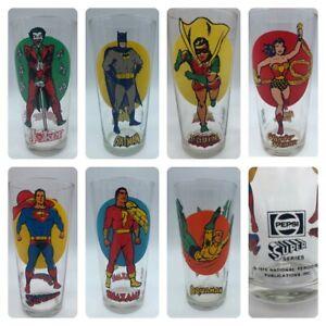7 lot set of Pepsi Super Series 1976 Collector Glass DC Comics Moon Joker Batman