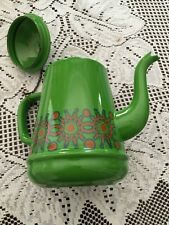 Vintage Old Collectible  Color Green Orange Porcelain Enamel Tea Pot kettle