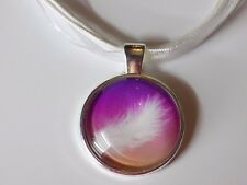 Silver Plated Purple White Feather Glass Pendant Organza Ribbon Cords Necklaces