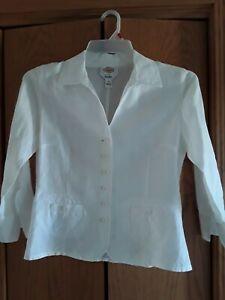 Talbots Linen Blazer Jacket Top Lightweight , White, Size 6
