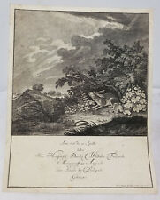 Antique Large Johann Elias Ridinger Rabbit Hare Engraving Print Invitation