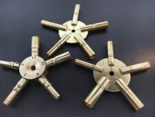 Universal Brass Clock Winding Keys 5 Prong Set of 3 Odd, Even and Hi/Low Sizes