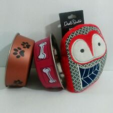 Bundle~Set of 2~Loving Pets~Bella Bowls~Small~Dog Dish~Paws Bones~Dog Plush Toy