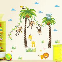 Animals Wall Sticker Kids Room Bedroom Lion Monkey Tree us