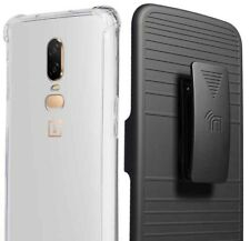Clear Case Anti-Shock TPU Cover + Belt Clip Holster for OnePlus 6 (A6000/A6003)