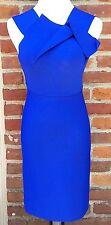 $1670 Roland Mouret Wilkes Royal Blue Fold Cocktail Dress FR 38 IT 42 UK 10 US 6