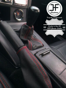 RED STITCH LEATHER GEAR & HANDBRAKE SET FITS MAZDA MX5 MIATA EUNOS MK1 89-97
