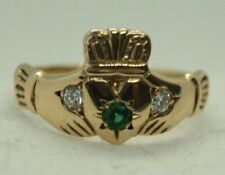 100% Genuine 9k Solid Yellow Gold Claddagh Ring with Diamond & Emerald Sz 6