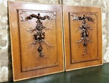 Pair bow ribbon flower wood carving panel Antique french architectural salvage