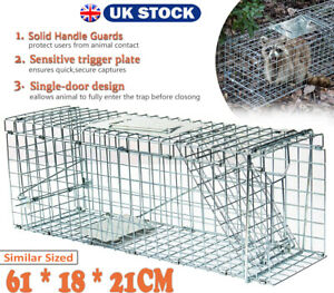 Medium Animal Trap Live Life Catch Door Cage Bait Cat Raccoon Rabbit Fox Pet Rat