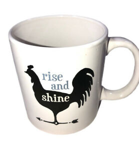 Rise And Shine Royal Norfolk  Rooster Mug, White,Gray  Black, 14 oz