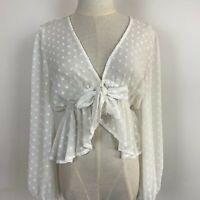 Dissh Women's Sheer Polka Dot White Blouse Size 8 ~ Free AU Post!