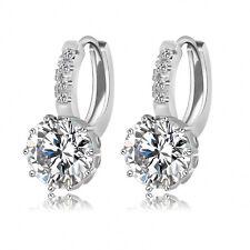 Sterling Silver Plated Crystal Hoop Earring Drop Women Stud Fashion Hook Jewelry